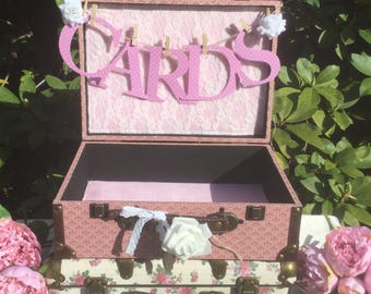 Wedding Card Holder,Rustic pink Lacey Wedding Card Holder, Shabby chic Wedding card box,Wedding card suitcase