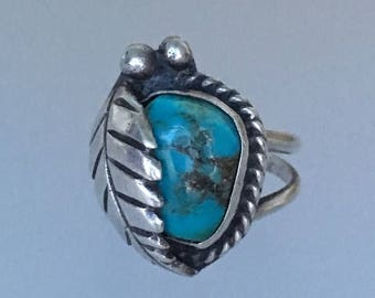 Vintage Native American Turquoise Sterling Silver Ring Size 6. Possibly Navajo Old Pawn .