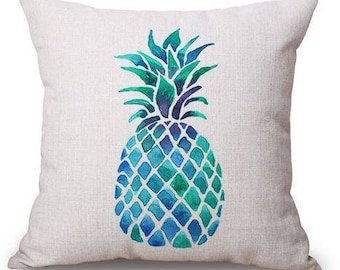 Blue/Green Pineapple Pillow Cover