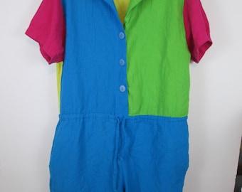 Vintage Playsuit Jumpsuit Romper Size L Shorts Suit by DOTTI #D8