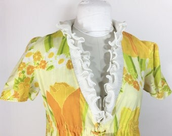 Vintage Yellow Dress Yellow Floral Maxi Dress Long Dress 1960s Dress Yellow Orange Flower Dress Ruffle Spring Dress Stella Fagin Petite
