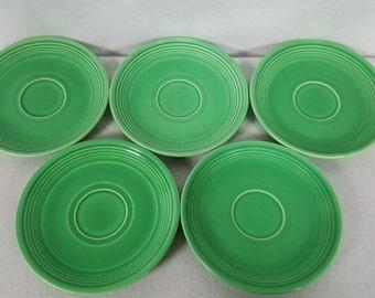 Vintange FiestaWare Green Saucers Set Of 5