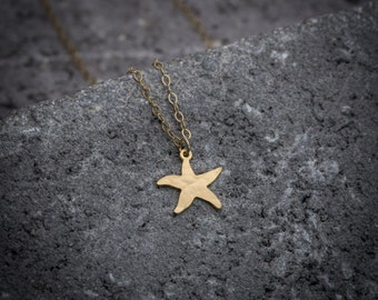 Starfish necklace, gold starfish charm, sea necklace, ocean charm, beach necklace, under 50 necklace, dainty necklace, gift for her.