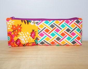 Floral Basketweave Extra Large Pen Case - Pencil Pouch - Zippered Pouch - Planner Case - Pen - Pencil - Pouches - Noodlehead Designs - Bold