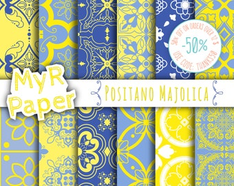 "SALE Digital Paper SALE 50% Majolica Digital Paper: ""Positano Majolica"" Neapolitan Majolica, Moroccan, Arabesque, Blue & Yellow"