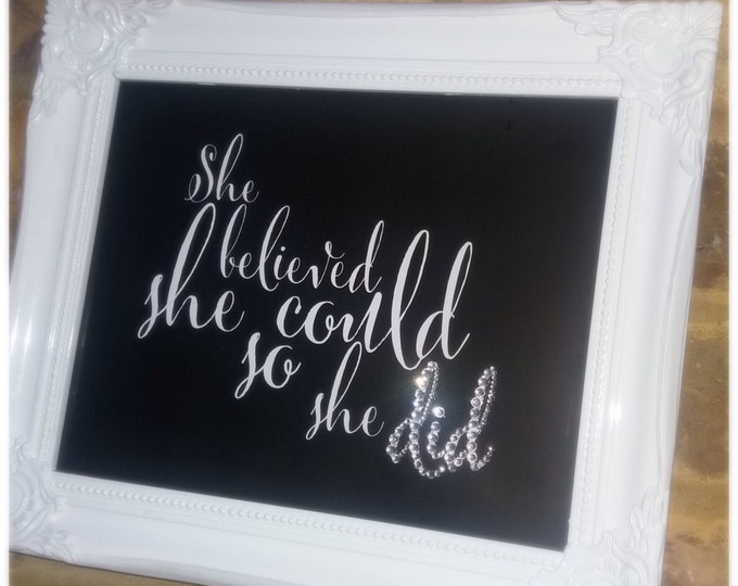She believed she could so she did quote framed print | With crystals | Home decor | Wall art | Custom prints | Choice of colour