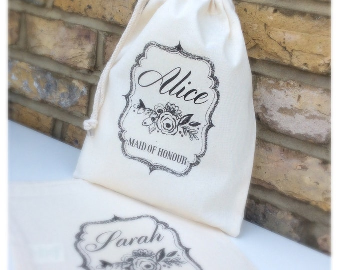 Personalised Wedding gift bags, pouches, thank you keepsake bag, any wording & colour. Bridesmaid, flower girl, maid of honour, tote bag.