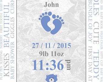 Personalised Baby Print (Blue).