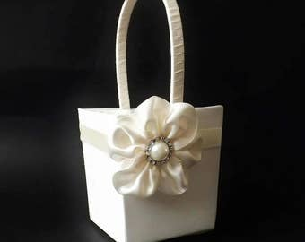 Flower Girl Petal Basket - Satin with Diamante Pearl Cabochon decorated Satin Flower - Small - Medium - Large
