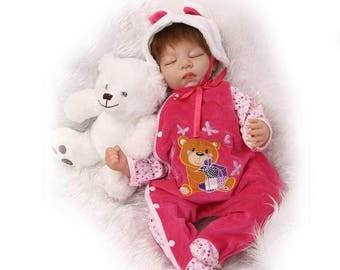 "Reborn Toddler Dolls 22"" Handmade Lifelike Baby Solid Silicone Vinyl Doll Soft"