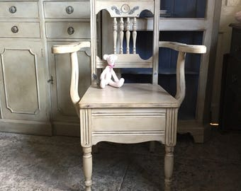 Antique/Vintage Grey Farmhouse Hand Painted Commode Chair FREE DELIVERY  Handmade Edwardian
