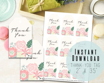"""2""""x3.5"""" Floral Printable Thank You Tags - Printable Favor Tags - Baby Shower - Birthday - Engagement - Digital File - Instant Download"""
