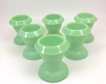 Vintage Jadeite Egg Cups - Set of Six