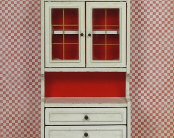 Doll house vintage tall sideboard Lundby 1970s white furniture wood