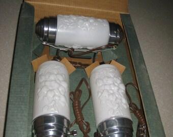 VINTAGE 1930's Boudoir 3 piece lamp set cylinder bed lamp & 2 dresser lamps NIB old new stock Milk class white