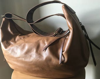 Curvy slouchy and soft handmade leather handbag Crossbody wide strap cotton lined Leather handbag tote bag excellent diaper or baby bag