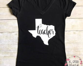 Texas Teacher Vneck Shirt