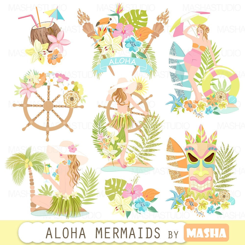 Summer clipart: ALOHA HAWAII CLIPART with Hawaii