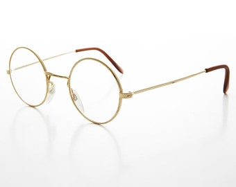 Gold Round John Lennon Frame with Clear Lens Deadstock - YALE