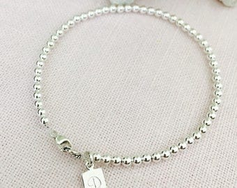 Personalized handstamped Sterling Silver beaded bracelet, Mothers Day Gift