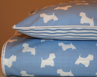NEW 100% COTTON Children's Cot Bed Duvet Cover Set Blue & White white piping Dogs Strpes