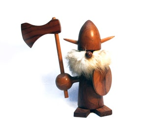 Large vintage Danish teak Viking, Scandinavian 1950s wooden tall figurine with its axe and its shield, Decor or collectable, Denmark
