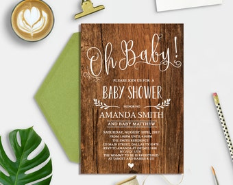 Rustic Wood Baby Shower Invitation, Baby Shower Invitation Woodland, Gender Neutral Baby Shower Invite, Country Baby Shower Invitation
