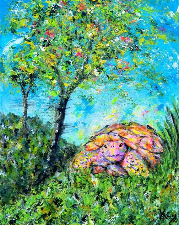 Turtle Art Print. Colorful Tortoise Art Print entitled Tank's Dreamworld. Turtle Wall Art. FREE SHIPPING!