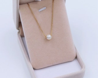 Single pearl gold necklace, Floating pearl on gold necklace, Genuine freshwater pearl necklace, Bridesmaid Necklace, AAA round pearl 6-6.5mm
