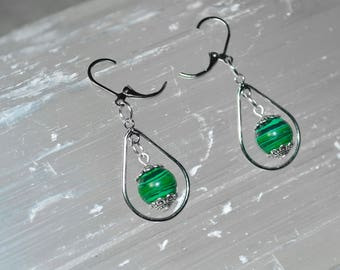 Malachite Earrings . Malachite SIlver Drop Earrings . Heart Chakra Earrings . Reiki Healing Malachite Earrings . Green Dangle & Drop Earring