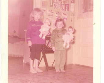 "Vintage Photo ""Playing With Our Dolls"" little girls, old photo,color photo, snapshot, photography, paper ephemera"
