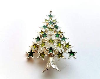 Vintage Silver with Light and Dark Green Enamel Christmas Tree and Rhinestones Pin Brooch