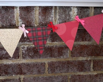 Little Women Christmas Paper Pennant Banner / Book Page Decor / Christmas Garland / Holiday / Party / Bunting / Garland
