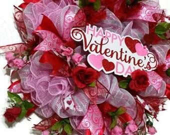 Valentines Mesh Wreath, Valentines  Day Wreath, Red White Pink Deco Mesh Wreath, Red Pink Deco Mesh  Wreath, Pink White Deco Mesh Wreath