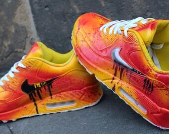 Painted Custom Nike Air Max 90 Kill Bill Graffiti Yellow Blood Style *UNIKAT* Airbrush Streetart Sneaker