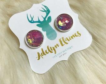 Lavender Fire Opal Faceted 12 mm Earrings Set
