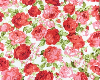 Floral cotton fabric,red Rose Fabric and white flower cotton fabric, leaf, nature of 100% Cotton Fabric Fat Quarter, half yard, yard.