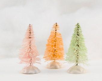 Small Glitter Bottlebrush Trees Set 3 Holiday Decor Christmas Decoration Hand Dyed orange Pink Green Fairy Garden