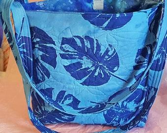 Blue Batik Leaf Pattern Tote Bag