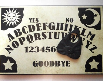 A4 Hand Finished Wooden Sun, Moon & Stars Talking Board Set Complete with All-Seeing Eye Planchette, Classic Ouija Style Board
