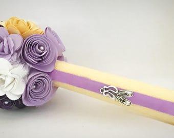 Dance recital Paper Flower Bouquet - ballet-  purple, yellow and white  - ballerina