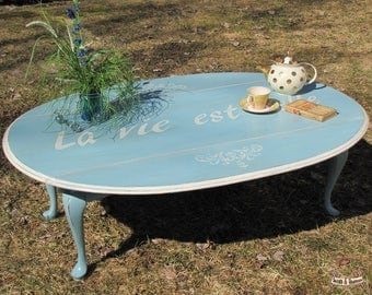 Shabby chic coffee table, drop leaf coffee table