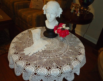 Vintage,  Crochet Lace White  36 inch,  Round Tablecloth,Today's Gift Tomorrow's Heirloom