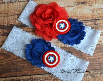 Captain America Bridal Garter Set | Super Hero Wedding Garters | Flower Stretch Lace Garter | Keepsake Toss Superhero USA Red White Blue