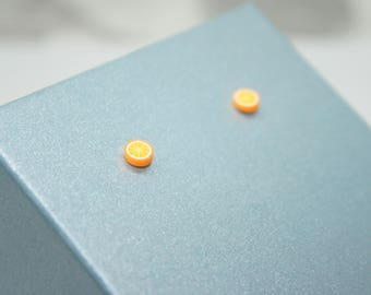Orange Stud Earrings, Orange Earrings, Fruit Earrings, Sterling Silver Stud Earrings, Food Jewelry, Cute Earrings, Orange Slices