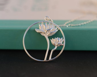 Lotus Flowers necklace. Sterling Silver Lotus Flowers disc necklace. Minimalist necklace. Meaningful necklace