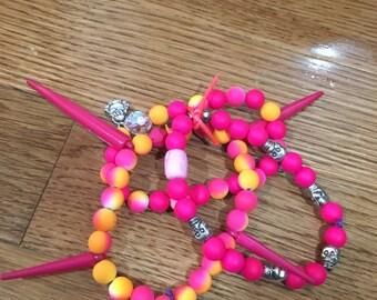 Pink and Orange Skull Bracelets