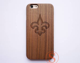 Flur de lis phone case, Wood iPhone 7 case, Floral iPhone 6 case, iPhone 6s plus case, Wood iPhone 7 Plus case, Engraved Wood case, KC-30