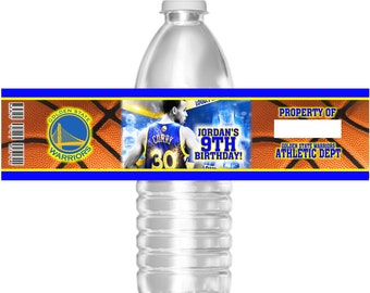Printable Basketball Golden State Warriors Stephen Curry Birthday Party Water Bottle Labels 16.9 oz Water Party Favors Baby Shower