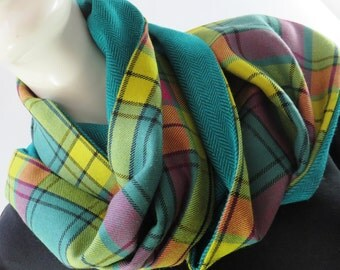 MacMillan the magnificent! A stunning pure wool tartan wrap, lined in a vibrant herringbone wool-mix. 1 ready to ship, hand made in the UK